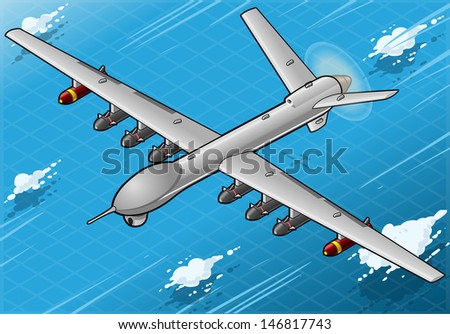 Detailed illustration of a Isometric Drone Airplane flying with Bombs in Front View - stock photo