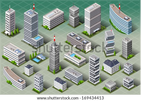 Detailed illustration of a Isometric European Buildings - stock photo