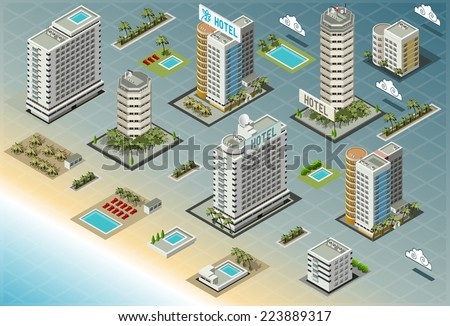Detailed illustration of Isometric Seaside Buildings - stock photo