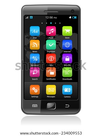 Detailed illustration of modern black glossy touchscreen smartphone with colorful interface isolated on white background with reflection effect - stock photo