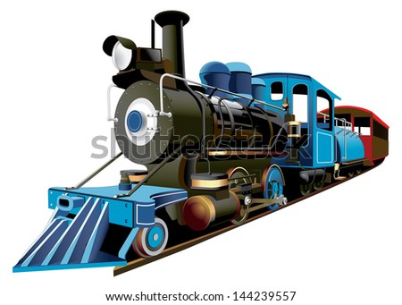 detailed image of locomotive of middle 19 ages, isolated on white background - stock photo