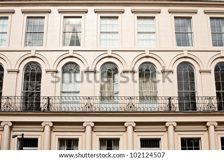 Detailed image of regency town houses in the Regent's Park area of London, UK - stock photo