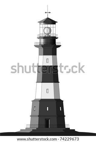 detailed lighthouse isolated on white. Raster version of the illustration. - stock photo