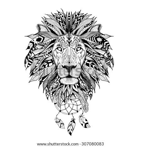 Detailed Lion in aztec style. - stock photo