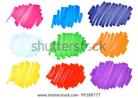 Detailed macro of very bright and colorful felt tip ink markers scribbles or ink blots with paper fibers visible, very large format. - stock photo