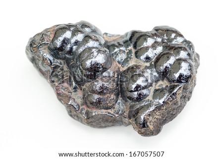detailed macro photo of Hematite mineral isolated over white - stock photo