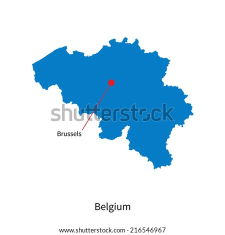 Detailed map of Belgium and capital city Brussels - stock photo