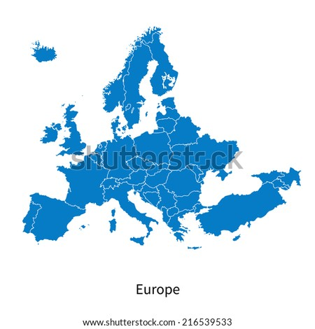 Detailed map of Europe Political map with borders - stock photo