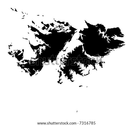 Detailed map of Falkland Islands, black and white. Mercator Projection. - stock photo