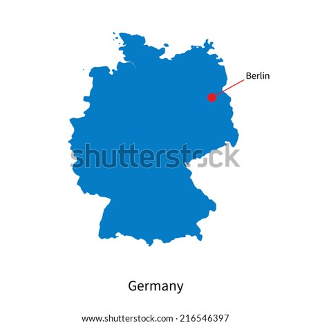 Detailed map of Germany and capital city Berlin - stock photo