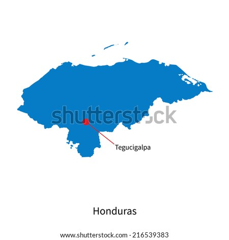 Detailed map of Honduras and capital city Tegucigalpa - stock photo