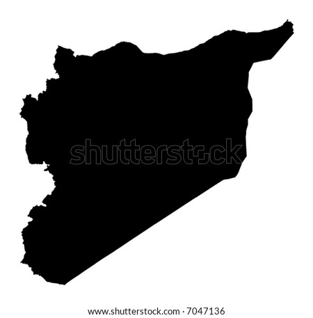 Detailed map of Syria, black and white. Mercator Projection. - stock photo