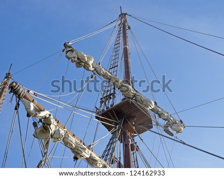 detailed masts of old ships - stock photo