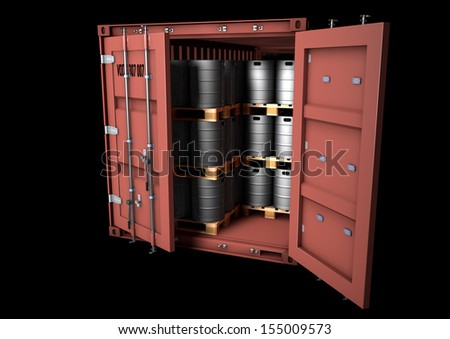 Detailed model of an open 20ft ISO sea container with european beer kegs, isolated rendering - stock photo