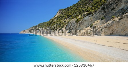 Detailed panorama of Egremni beach on the island of Lefkada, Greece on a sunny day - stock photo