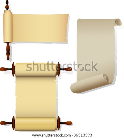 Detailed parchment banners with rolls. - stock photo