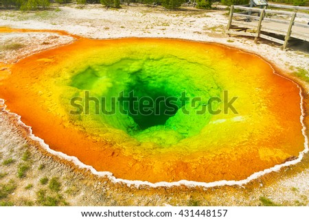 Detailed photo of Morning glory pool from above. Yellowstone National Park, Wyoming, USA - stock photo