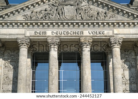 detailed picture of the facade of the Reichstag, the national german parliament, Berlin, Germany, Europe  - stock photo