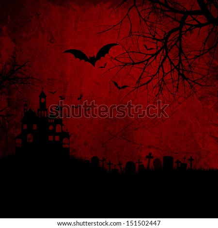 Detailed red grunge Halloween background wtih spooky bats and haunted house - stock photo