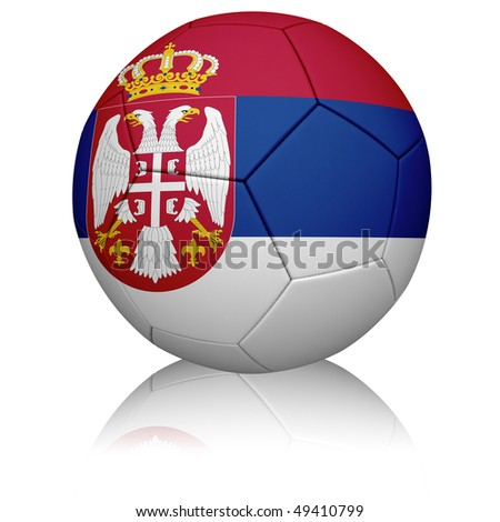 Detailed rendering of the Serbian flag painted/projected onto a football (soccer ball).  Realistic leather texture with stitching.  Clipping path included. - stock photo