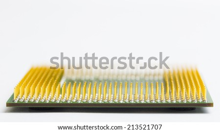 Detailed shot of computer processor pins which are being widely recycled for their valuable gold content. Great for background - stock photo
