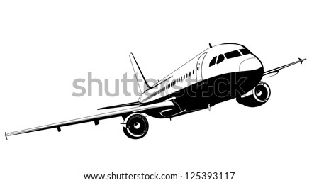 Detailed silhouette airliner. Vector version see in my portfolio - stock photo