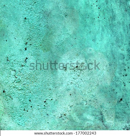 Detailed texture of copper with a blue-green patina - stock photo