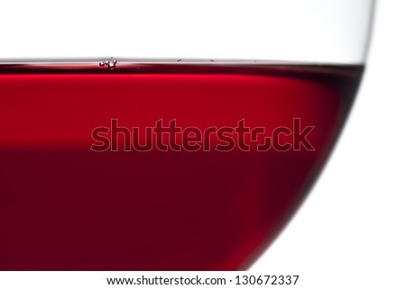Detailed view of a red wine glass with little bubbles on surface - stock photo