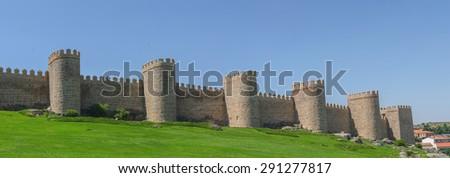 Detailed view of Avila walls, also known as murallas de avila. Avila, Castilla y Leon, Spain - stock photo