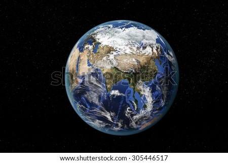 Detailed view of Earth from space, showing Asia and the Far East. Elements of this image furnished by NASA - stock photo