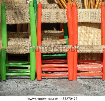 Detailed view of handmade small chairs in la Alpujarra, Capileira, Spain - stock photo
