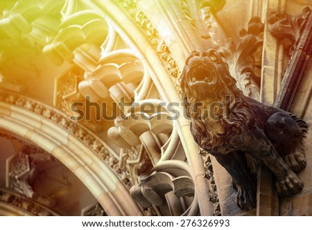 Detailed view on gothic mosaic of St. Vitus cathedral in Prague Castle in Prague, Czech Republic - stock photo