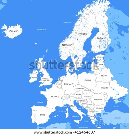 Detailed white Europe map | A large color map of Europe - stock photo