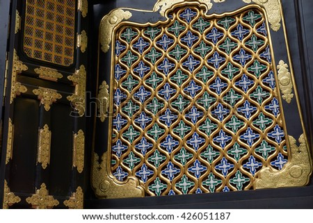 Detailed window of Tosho-gu temple in Nikko, Japan - a UNESCO World Heritage Site - stock photo
