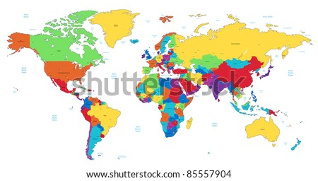Detailed World map of rainbow colors. - stock photo
