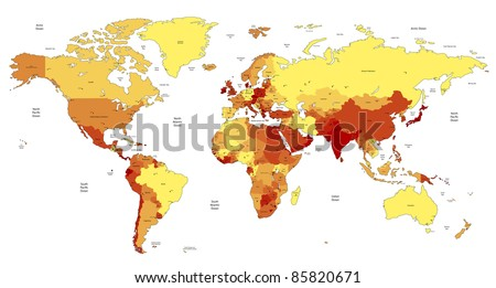 Detailed World map of yellow, orange, red colors. - stock photo