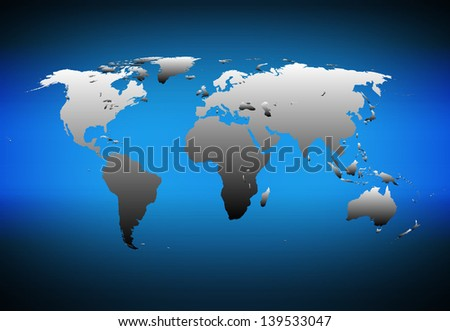Detailed world map on dark blue background - stock photo