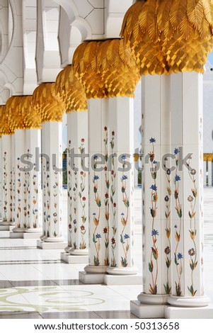 Details and decoration of Sheikh Zayed Mosque, Abu Dhabi, United Arab Emirates - stock photo