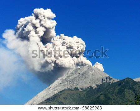 Details dangerous hot cloud of volcanic eruption in Java  island, Indonesia - stock photo