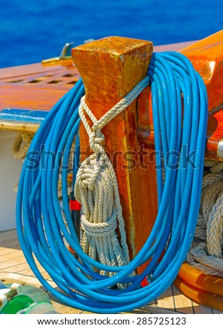 details from a classic Greek sailing wooden boat - stock photo