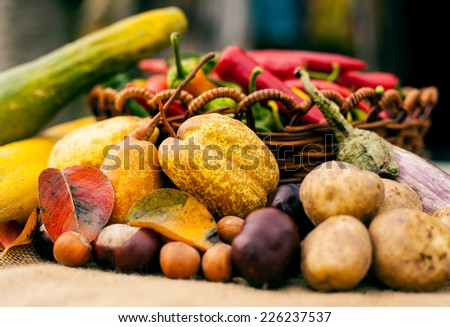 Details from organic autumn fruit and vegetables  in basket - stock photo