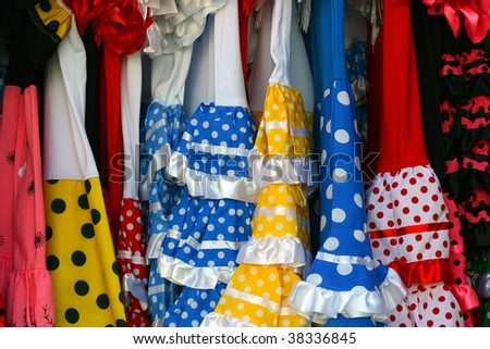 Details gypsy flamenco costumes typical of Andalusia, Spain - stock photo