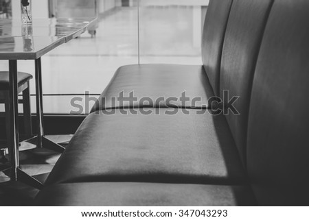 details - leather furniture, black and white tone. - stock photo