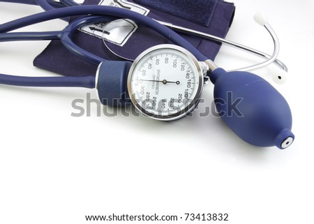 Details of a blood pressure instrument - stock photo