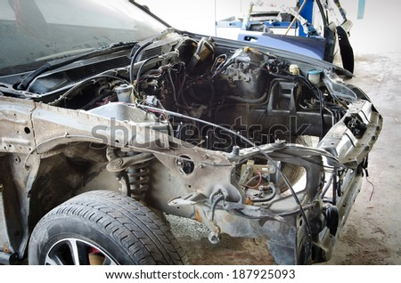 Details of a car an accident, prepare for repair . - stock photo