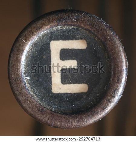 Details of a dusty old letter, closeup of vintage typewriter. - stock photo