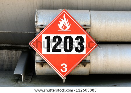 Details of a petroleum tank truck hauling gasoline, 1203 Placard - stock photo