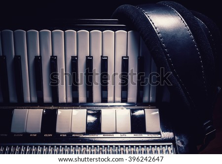 Details of an old accordion, closeup view.  - stock photo
