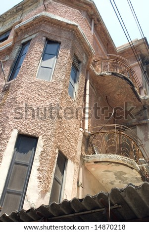 Details of an old building, Alenby street, Tel Aviv, Israel - stock photo