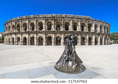Details of Ancient Roman Amphitheater in Nimes, France - stock photo